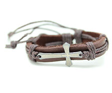 Steel Wristband Rope Cross Inscription Genuine Leather Bracelet Brown Stainless