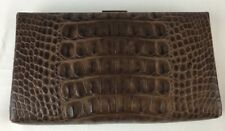 Banana Republic Clutch Leather Metal Brown Faux Snake Brushed Bronze Structured
