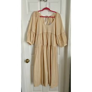 Free People NWT Syd Poplin Midi Dress Large Women's Casual Endless Summer Boho