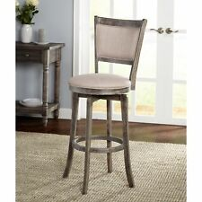 """French Country Distressed Grey Wood 30"""" Inch Swivel Bar Stool Fabric Seat Gray"""