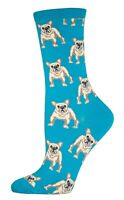 Socksmith Womens Novelty Crew Socks Frenchie French Bulldog Lagoon Blue New