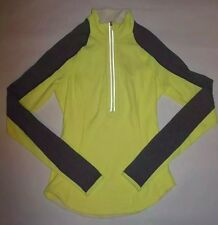 LULULEMON U TURN PULLOVER HALF ZIP TOP REVERSIBLE CLARITY YELLOW GRAY BLUE sz 2