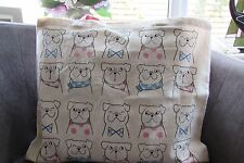 Atmosphere Cute Bulldog 100% Cotton Tote Pink/blue new with tags