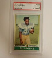 1974 Topps Football #176 Cid Edwards PSA 8 Chargers