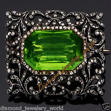 Vintage Estate 5.08cts Rose Cut Diamond Silver Jewelry Gemstone Studded Brooch