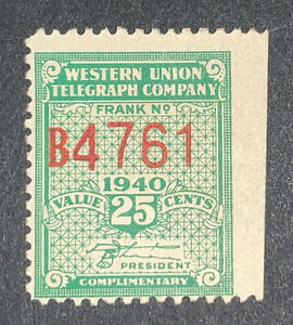 Travelstamps: US Telegraph stamps scott 16t98 25c 1940 Western Union Mint OG H