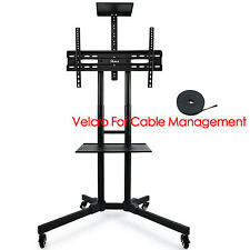 32-65 inches Flat Screen Mobile TV Mount Stand TV Cart with Adjustable Shelves