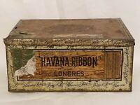 Vintage Antique Havana Ribbon Cigar Tin Metal Box Tobacco Decor Collectible