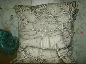 B MADE in ZOFFANY LONDON 1832  LINEN MAP PRINT CUSHION COVER FITS 16in pad GREY