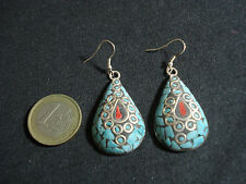 coppia orecchini nepalesi argentone pietre dure corallo turchese bigiotteria