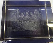Laser Etched Crystal Glass Paperweight Last Supper Jesus Christ Apostles