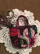 Vera Bradley Mod Floral Pink Mini Miller Coin Pill Key Ring Chain Bag Charm #1