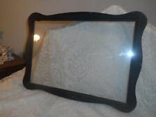 Antq Lg.Carved Scalloped Wood Glass Front Wall Mount Picture ArtWork Print Frame