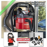 Craftsman Wet Dry Vacuum 5 Gallon Wall Mount 5.0 Peak HP Vac with Remote Control
