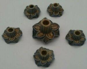 ANTIQUE Candle Holders Porcelain Flowers England Mini Petite Individuals RARE