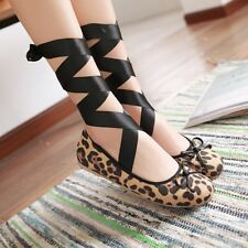 Womens Flat Strappy Causual Leopard Pumps Slip On Loafers Ballet  Boat Shoes