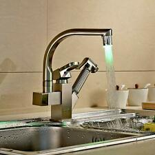 Brushed Nickel Kitchen Faucet Sink Swivel Mixer Tap Deck Mounted Pull Out Spraye