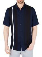 Alfani Mens Bowler Shirt Blue Black White Medium M Striped Button Down $55 268
