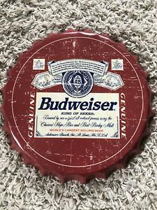 Vintage Budweiser Retro Metal Bottle Top Wall Sign 35cm