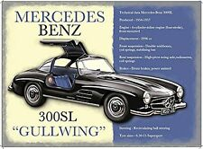 Mercedes Benz 300SL 'Gullwing' large steel sign  400mm x 300mm (og)