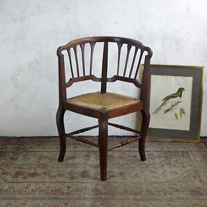 Antique Vintage Edwardian Corner Chair Arm Hall Side Bedroom Rush Seat