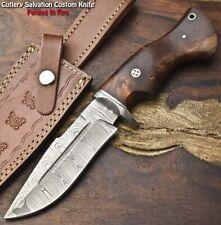 Rare Custom Hand Made Damascus Steel Blade Hunting Knife   Walnut Wood