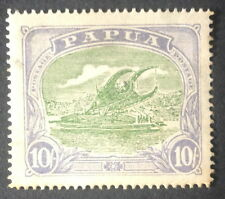 timbre papuasie n°68, 10 violet sur vert sur bruns, x, TB, cote 230e