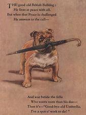 BULLDOG CHARMING DOG GREETINGS NOTE CARD PATRIOTIC DOG WITH UMBRELLA & VERSE