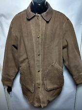 02979c30cace1 Vtg Woolrich Brown Denim Chore Barn Jacket Removable Indian Blanket Liner  Size L