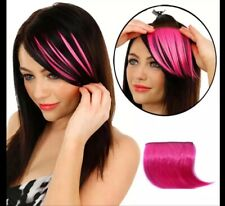 Clip On Front Fringe Hair Piece In Hot Pink