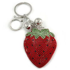 Red/ Green/ Black Crystal Strawberry Keyring/ Bag Charm In Silver Tone Metal - 1