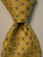 CANALI Men's 100% Silk Necktie ITALY Luxury Designer Geometric Yellow/Blue EUC