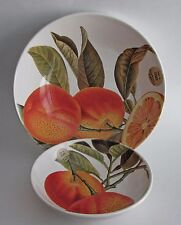 "VALORI HOME ITALY Orange Branch Ceramic Bowls SET 2 Large 12"" and Small 8"" NEW"