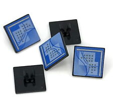 Lego 5 New Black Road Sign Clip-on 2 x 2 Square with Curved Blue Lines and Small