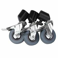 3pcs Heavy Duty Universal Rubber Caster Wheels Fr Light Stand Photography Studio