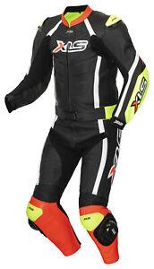 Lederkombi hochwertiger Zweiteiler Schwarz Rot Neongelb zweiteilig Motorradkombi