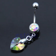 Multicolor Surgical Steel Rhinestone Love Heart Dangle Bar Navel Belly Ring