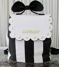 Betsey Johnson Bow Top Handle Flap Backpack Stripes Black White NWT