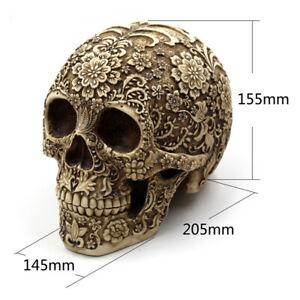 Antique Human Skull Statue Human Head Resin Skull Sculpture Halloween Decor