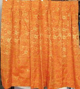 Vintage 60s 70s NEW 4 Pinch Pleat Drapes Curtains Orange Gold Brocade 38x44