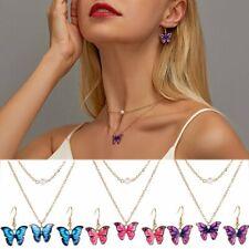 Fashion Butterfly Enamel Choker Necklace Pendant Earrings Jewelry Set Wedding