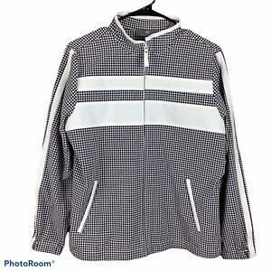 Talbots Womens Athletic Jacket Size Large Petite Gray Full Zip Checkered