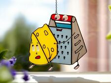 Funny Christmas Home Decor Stained Glass Window Decoration Сheese Suncatcher