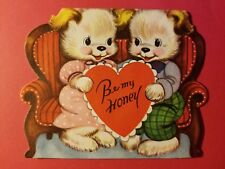 Vintage 1940-50's Valentine - Bears Cubs in Love - Be My Honey - Whitman Press