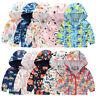 UK Toddler Kids Baby Grils Boys Autumn Print Jacket Zipper Hooded Windproof Coat