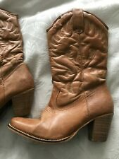 Ladies Dorothy Perkins Leather Tan Cowboy Boots size 5