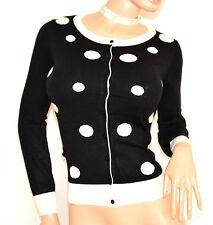 MAGLIETTA nera pois bianchi maglia cardigan golfino sottogiacca manica lunga F70