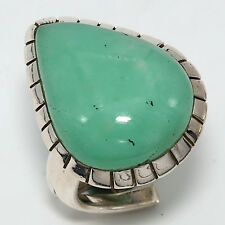 92.5 Sterling Silver Natural Chrysoprase Pear Cab Ring US-7 Adj. D-647