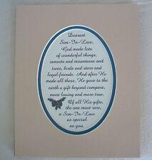 God Made SON IN LAW Loyal FRIENDS Wonderful GIFT Loving TRUE verses poem plaques