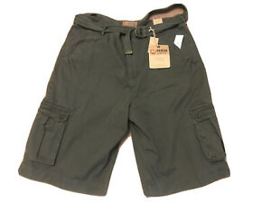 Men's Size 42 NBN Gear Olive Green Loose Fit Belted Cargo Shorts. NWT $54